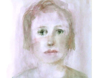 watercolor portrait Girl original  painting woman figurative people