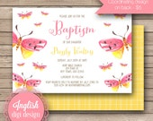 Watercolor Butterfly Baptism Invitation, Printable Baptism Invite, Butterfly Baptism Invite - Watercolor Butterflies in Coral Pink & Yellow