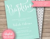 Printable Baptism Invitation, Baptism Invite, Calligraphy Baptism Invitation, Script Baptism Invitation in Light Teal