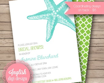 Starfish Bridal Shower Invitation, Printable Starfish Bridal Shower Invitation, Starfish Bridal Shower - Bold Starfish in Aqua, Green