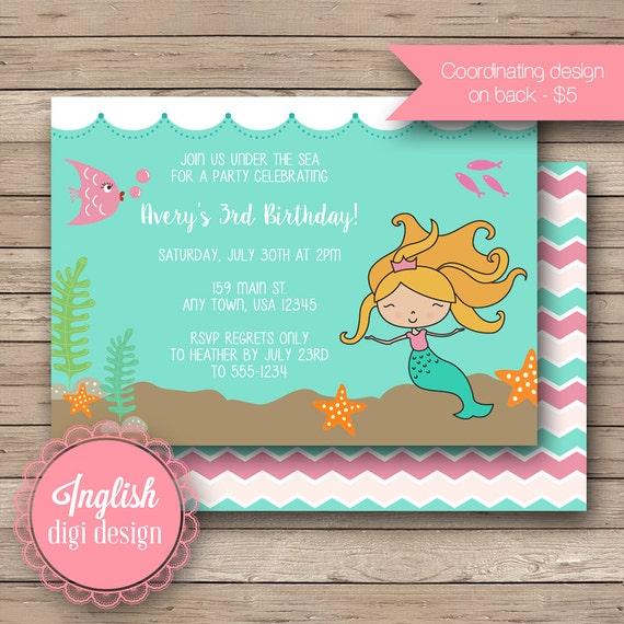 Printable Mermaid Birthday Party Invitation, Mermaid Birthday Invitation, Mermaid Birthday Invite - Mermaid and Friends