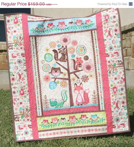 Baby Quilt Friendly Forest Animals Reversible By