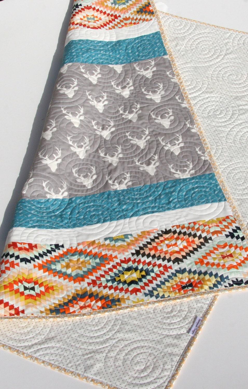Https Www Etsy Com Listing  Deer Baby Quilt Aztec Modern Bedding
