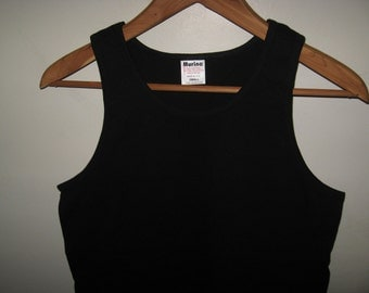 Black Vintage Tank Top - Old School 1980's Solid Light Weight USA Muscle Shirt Small