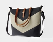 LARGE, Oatmeal linen chevron, Dark navy tote / diaper bag / shoulder bag with detachable strap  Design by BagyBags