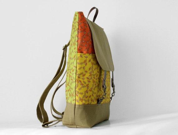 Multicolor herb backpack / laptop bag / school bag / leather closure / front pocket , Design by BagyBags