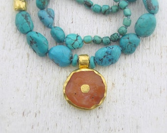 Statement Necklace - Turqouise and Carnelian Necklace - Gemstone and Gold Necklace - 24k gold necklace - Solid Gold Necklace