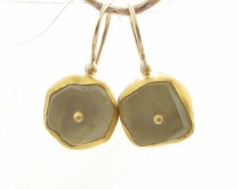 Gold Earrings , Lemon Quartz Gold Earrings , Free - Form Lemon Quartz Dangle Earrings - 24k Solid Gold Earrings - READY TO SHIP