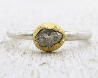 Pyrite Ring - 24k Solid Gold and Sterling Ring - Gemstone Ring - Stacking  Pyrite Ring - Mix Metal Ring