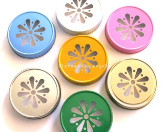 Mason Jar Lids, 10 Daisy Mason Jar Lids, Daisy Lids, Daisy Cut Lids, Wedding, Baby Shower, Birthday, Party, Pool, BBQ, Camping, Favors, USA