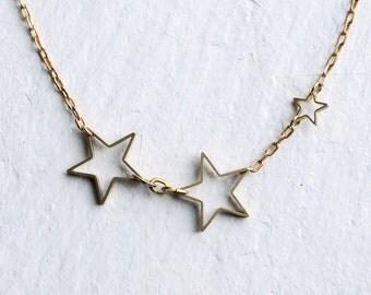 Star Necklace ... Constellation Galaxy Brass Planet Astrology Brass Gold Industrial