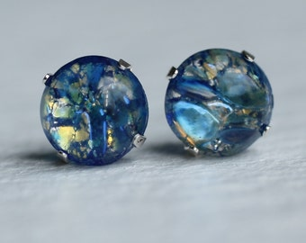Blue Opal Earrings ... Sterling Silver with Vintage Glass