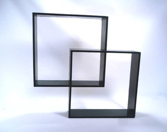 Shadow Box Curio Shelf Intersecting Squares Vintage 80s
