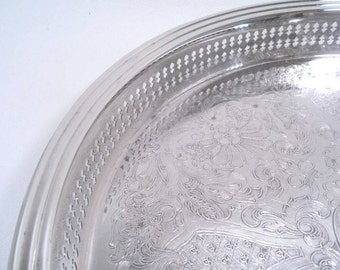 """Large 15"""" Gorham Silver Drinks Serving Tray Shabby Chic Vintage 50's"""