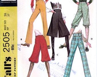 McCall's 2505 Vintage 70s Misses' Pants Sewing Pattern - Uncut - Waist 26