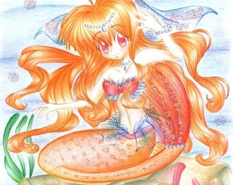 Kawaii OOAK Coral Mermaid Illustration - With Glitter Details !!