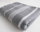 SALE 50 OFF/ Classic Blanket / Gray / Beach blanket, Picnic blanket, Sofa throw, Tablecloth, Bedcover
