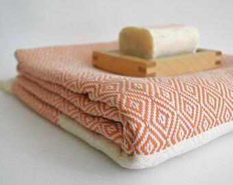 SALE 50% OFF Diamond Bathstyle Turkish BATH Towel Peshtemal -A- Coral - Bath, Beach, Spa, Swim, Pool Towels