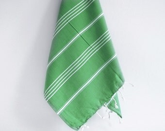 SALE 50 OFF / Turkish Beach Bath Towel / Classic Peshtemal / Green / Wedding Gift, Spa, Swim, Pool Towels and Pareo