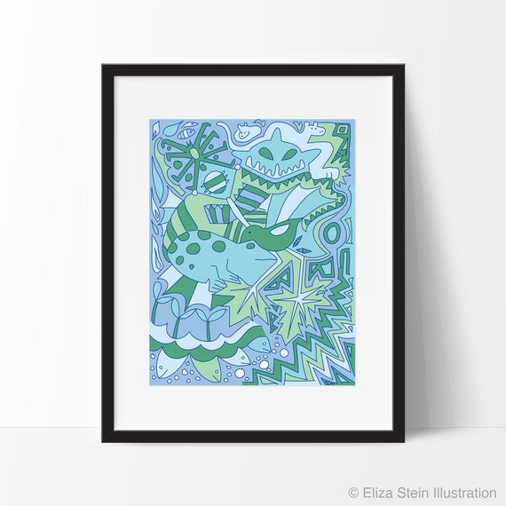 Abstract Animals Art Print, Blue and Green, Nursery Decor, Childrens, Kids Wall Art, Poster