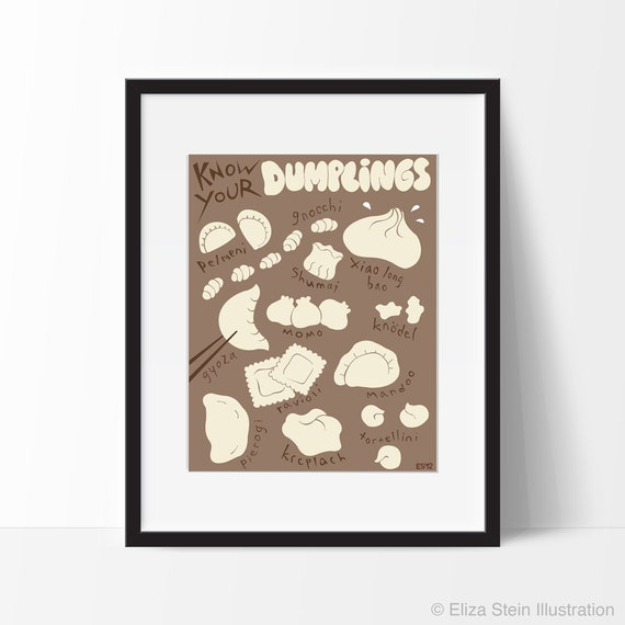 Dumplings Poster, Food Art Print, Kitchen Wall Art, 11x14 Kitchen Decor, Foodie Gift