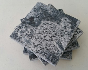 """Black Gray Coasters, Drink Coasters 4"""" x 4"""" Natural Stone, Slate, Tile animal print spotted"""