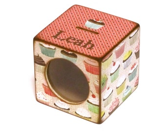Wood Coin Bank Kids Piggy Bank with See Thru Window - Cupcakes - Personalized