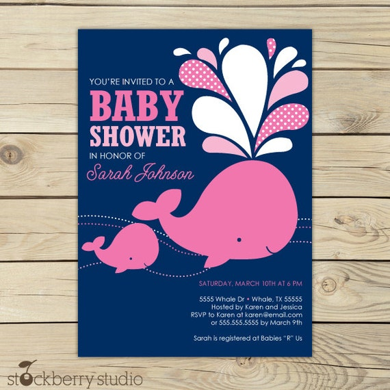 whale baby shower invitation printable green aqua blue white, Baby shower invitations