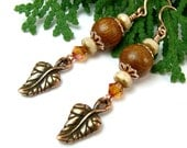 Copper Leaf and Wood Earrings, Crystals, Nature Inspired Handmade Dangles