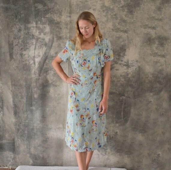 1940s Rayon Dress Blue Butterfly Print size M