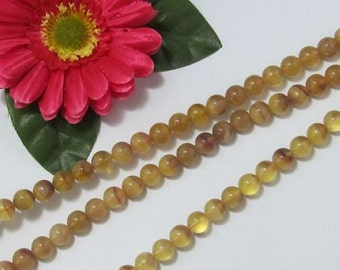 Natural Yellow Fluorite 10mm round Loose Beads
