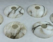 Set of Six Small Shallow Bowl-Shaped ALABASTER CHANDELIER SHADES,  circa 1920's - 1930's