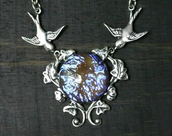 Tanzanite Dragon Breath Opal Necklace with Birds