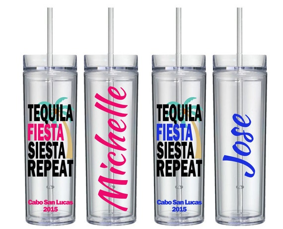 Tequila Fiesta Siesta Repeat Tumbler Set Of 5 Vacation