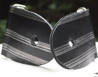 """2"""" Striped Guitar Strap Kit - Leather Ends - Nickel slider"""