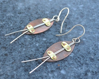 Copper, Brass,  and Sterling Silver Industrial Earrings
