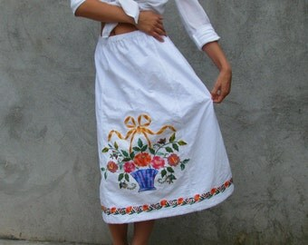 recycled embroidered ... vintage skirt ... boho shabby Chic skirt S/M/L