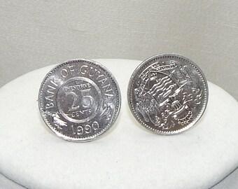 Coin cufflink,Foriegn Coin cufflink,Silver cufflink,Fathers Day cufflink,uncirculated foreign coin cufflink,foreign coin silver cufflink