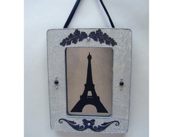 Eiffel Tower French Country Vintage Style Wall Decor Antiqued Mirror Black Grey Shabby Chic Cottage Silhouette Paris