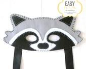 Raccoon Mask Pattern, Raccoon Mask Sewing Pattern, Woodland Mask Pattern, DIY Raccoon Mask, Instant Download PDF