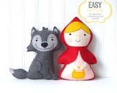 Little Red Riding Hood and the Big Bad Wolf Sewing Patterns, Stuffed Animals, Felt Animals, Hand Sewing