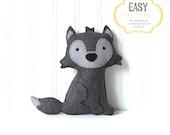 Wolf Sewing Pattern, Big Bad Wolf Stuffed Animal, Felt Wolf Hand Sewing Pattern, Gray Wolf