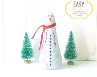 Snowman Hand Sewing Pattern, Christmas Decoration, Plush Snowman Sewing Pattern, Felt Snowman, Christmas Pattern