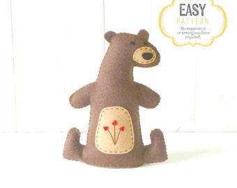 Felt Bear Pattern, Stuffed Bear Sewing Pattern, Woodland Bear Hand Sewing Pattern, Bear Softie, Plush Bear Toy, Bear Stuffie