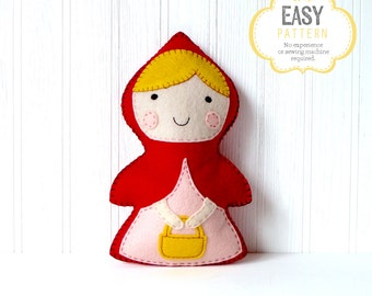 Little Red Riding Hood Sewing Pattern, Stuffed Doll, Fairy Tale, Felt Red Riding Hood Hand Sewing Pattern