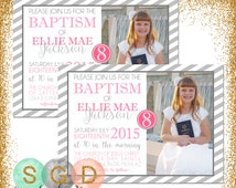 LDS Baptism Invitation For Girls - Polka Dot Baptism Invite Girl Baptism Invite 8 Is Great Choose The Right Pink Gray Stripes (Item #4)
