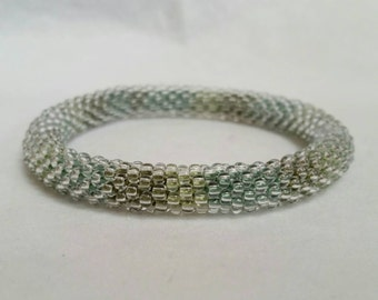 Multi-Green Bead Crochet Bangle - Ready to Ship