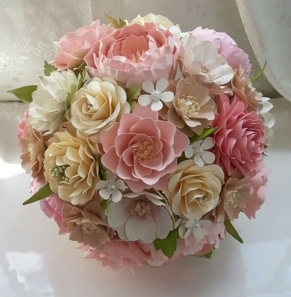 Paper Bouquet Paper Flower Bouquet Wedding Bouquet Country Blush