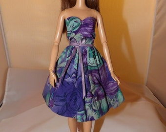 Purple floral party dress for Fashion Dolls - ed744