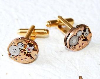 GIRARD PERREGAUX Steampunk Cufflinks - Very RARE Luxury Swiss Vintage Watch Movement Men Steampunk Cufflinks / Cuff Link Men Wedding Gift